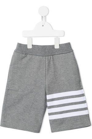 Thom Browne Kids Boys Shorts - Loopback jersey 4-Bar track shorts - Grey