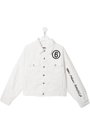 MM6 KIDS Denim Jackets - TEEN embroidered cotton denim jacket