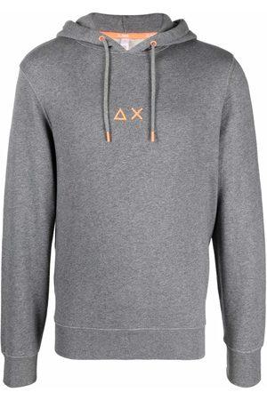 sun68 Men Hoodies - AX logo-print cotton hoodie - Grey