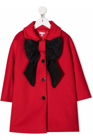 Piccola Ludo Girls Coats - Bow-detail single-breasted coat