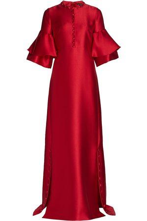 Reem Acra Women Beach Dresses - Satin Flounce Sleeve Caftan