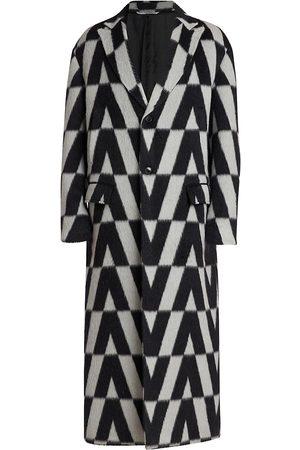 VALENTINO Men Coats - Logo-Print Overcoat