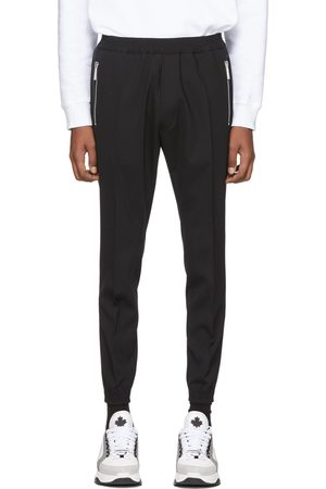 Dsquared2 Men Stretch Pants - Black Tropical Stretch Wool Jogger Fit Trousers