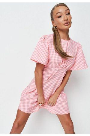 Missguided Gingham Flutter Sleeve Mini Dress