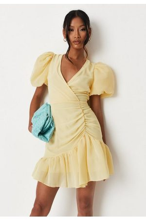 Missguided Woven Puff Sleeve Mini Dress