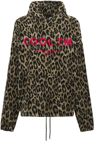 COOL Oversize Logo Leopard Printed Hoodie