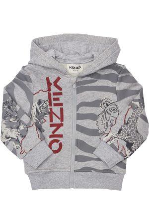 Kenzo Boys Hoodies - Printed Cotton Blend Sweatshirt Hoodie