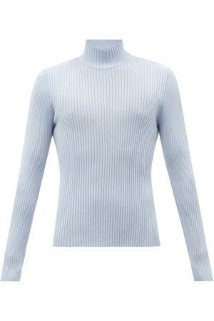 Sunflower Men Turtlenecks - Rib-knitted Merino Wool Roll-neck Sweater - Mens - Light