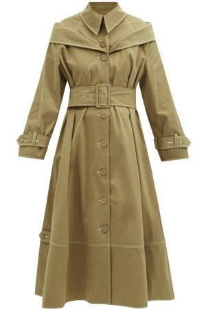 Erdem Lotte Belted Cotton-blend Gabardine Trench Coat - Womens - Camel