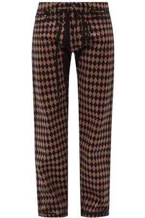 Maximilian Harlequin-print Straight-leg Jeans - Mens
