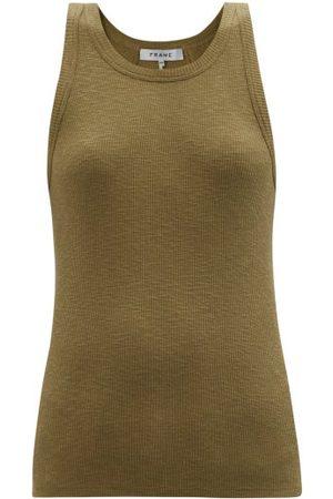 Frame Boyfriend Cotton-jersey Tank Top - Womens - Khaki