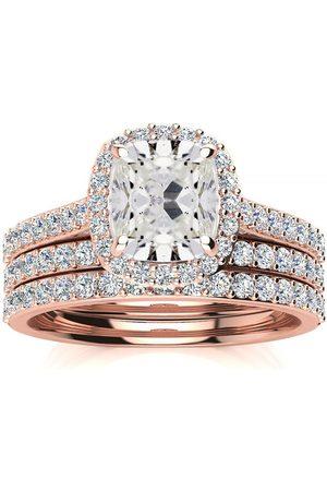 SuperJeweler Women Rings - 3 1/4 Carat Cushion Cut Halo Moissanite Bridal Engagement Ring Set in 14K (16 g)