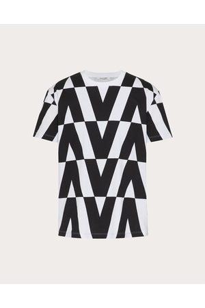 VALENTINO Cotton T-shirt With Macro Optical Valentino Print Man Ivory/ 100% Cotton L