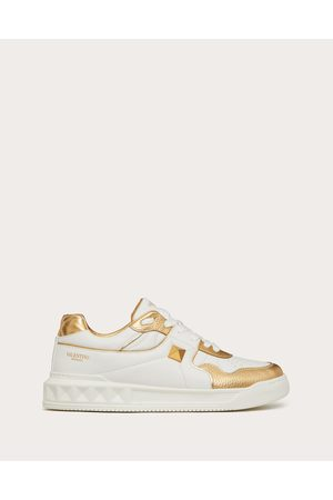 VALENTINO GARAVANI Men Sneakers - One Stud Low-top Sneaker In Nappa With Metallic Details Man /antique Brass 100% Lambskin 39.5
