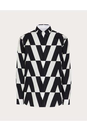 VALENTINO Men Long sleeves - Cotton-poplin Shirt With Macro Optical Valentino Print Man Ivory/ 100% Cotton 39