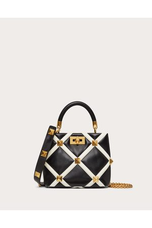 VALENTINO GARAVANI Women Shoulder Bags - Small Roman Stud The Handle Bag In Nappa With Grid Detailing Women /ivory 100% Lambskin OneSize