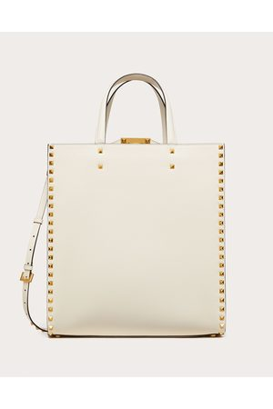 VALENTINO GARAVANI Men Bags - Rockstud Alcove Grainy Calfskin Tote Bag Man Light Ivory 100% Pelle Di Vitello - Bos Taurus OneSize