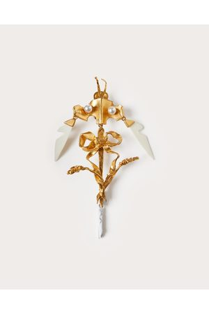 VALENTINO GARAVANI Women Earrings - Dreamy Forest Single Earring In Metal, Enamel, Plexiglass And Swarovski® Pearls Women Ivory/ 100% Brass OneSize