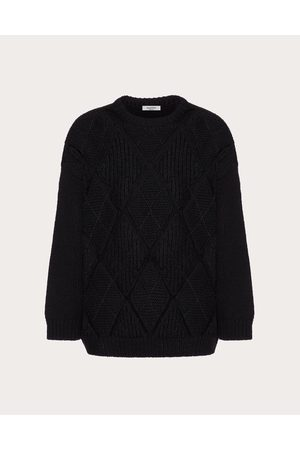 VALENTINO Wool Crewneck Sweater With Argyle Design Man 100% Virgin Wool L