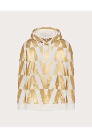 VALENTINO Men Sweatshirts - Cotton Sweatshirt With Macro Optical Valentino Print Man Ivory/ 100% Cotton M