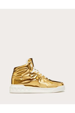 VALENTINO GARAVANI Men Sneakers - One Stud Mid-top Sneaker In Mirror-finish Synthetic Fabric Man Antique Brass 69% Polyurethane 31% Polyester 40