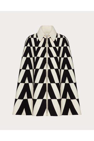 VALENTINO Felt Intarsia Cape Women Ivory/ 100% Wool 38