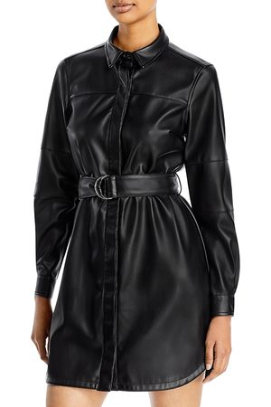 French Connection Patti Faux Leather Shirt Dress