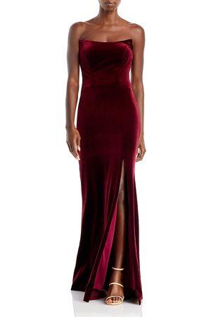 Aqua Strapless Velvet Gown - 100% Exclusive