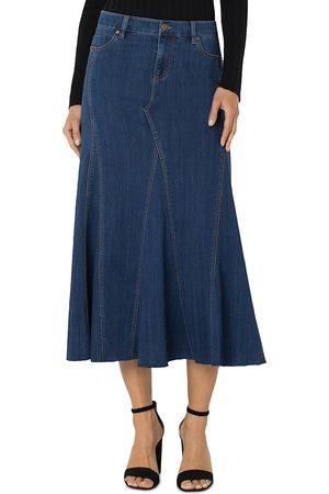 Liverpool Los Angeles Paneled Denim Midi Skirt
