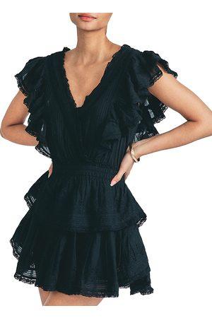 LOVESHACKFANCY Gwen Ruffled Sleeve Tie Dye Mini Dress