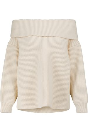 Alaïa Women Strapless Tops - Off-shoulder wool and cashmere sweater