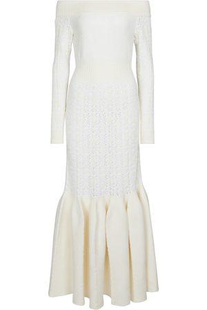Alaïa Off-shoulder velvet-trimmed maxi dress