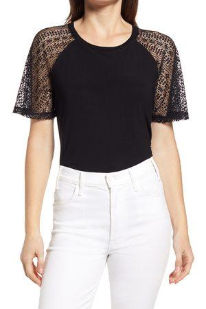 Halogen Women's Halogen Lace Sleeve Top