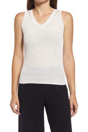 Halogen Women's Halogen Linen Blend Split Strap Sweater Tank