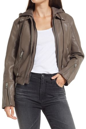 BLANK NYC Women's Faux Leather Bomber Jacket With Removable Hood