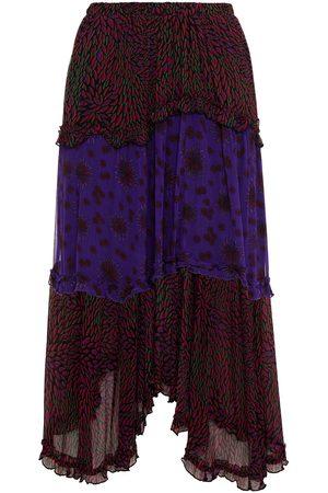 Bash Women Printed Skirts - Woman Gapi Tiered Paneled Printed Georgette Midi Skirt Dark Size 0