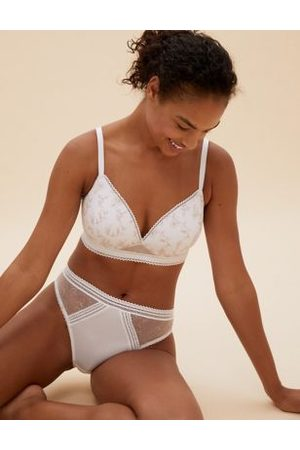 M&S Collection Women Wireless Bras - Archive Embroidered Non Wired Plunge Bralette A-E