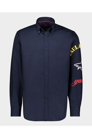 Paul & Shark Men Shirts - Organic printed popeline cotton Shirt with printed Logo