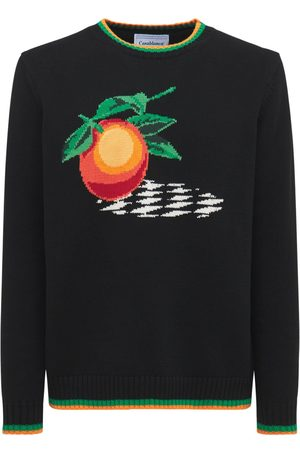 CASABLANCA Orange Intarsia Knit Cotton Sweater
