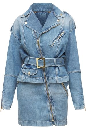 ALEXANDRE VAUTHIER Cotton Denim Mini Dress W/self-tie Belt