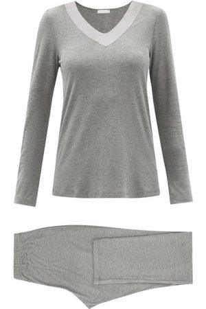 Hanro Women Sweats - Jade Satin-trimmed Jersey Pyjamas - Womens - Grey