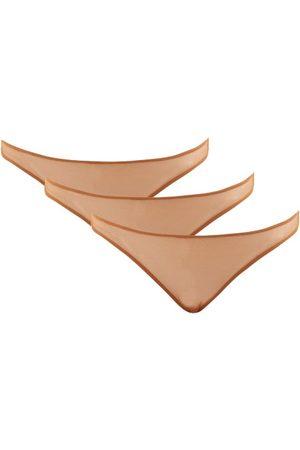 Nubian Skin Pack Of Three Caramel Stretch-tulle Thongs - Womens - Light