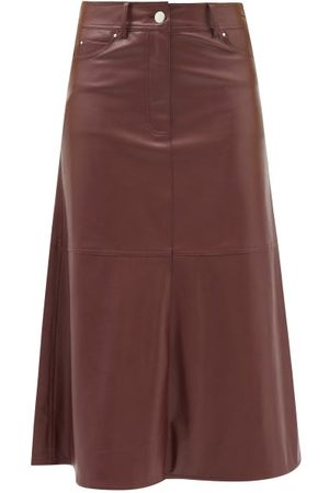 Stand Studio Women Leather Skirts - Riley Faux-leather A-line Midi Skirt - Womens - Burgundy