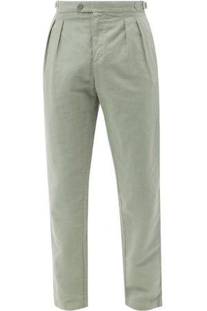 Orlebar Brown Caldwell Pleated Slim-leg Cotton-blend Trousers - Mens - Light