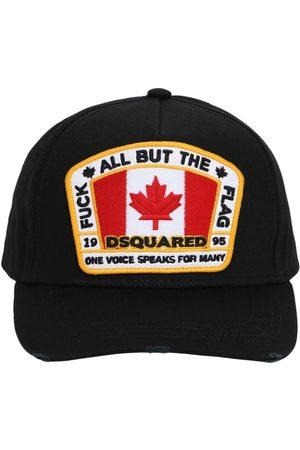 Dsquared2 Men Hats - Flag Patch Cotton Canvas Baseball Hat