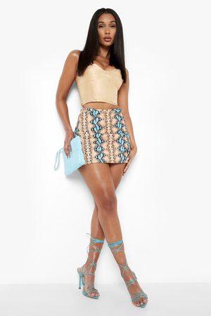 Boohoo Womens Snake Print Front Split Mini Skirt - - 2