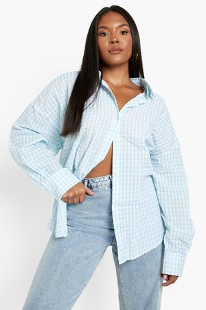 Boohoo Womens Plus Woven Gingham Oversized Shirt - - 12
