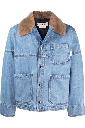 Marni Men Denim Jackets - Tartan-panel denim jacket
