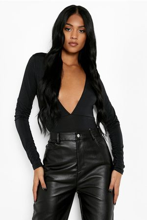 Boohoo Womens Tall Recycled Plunge Long Sleeve One Piece - - 2