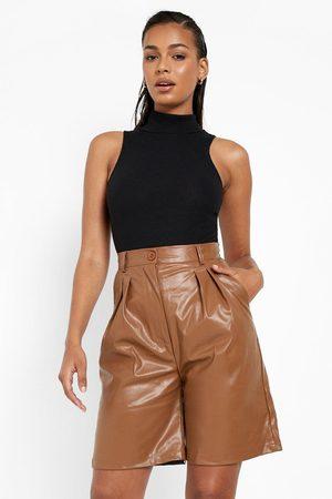 Boohoo Womens Pu Tailored Shorts - - 2